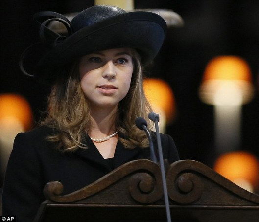 Perfect performance: Amanda Thatcher reads faultlessly to the congregation during the funeral service -- Mail Online (AP)
